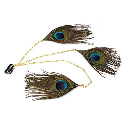 Runheng faite à la main Bandeau, plumes de paon indien hippie Feathe Tête Chaîne