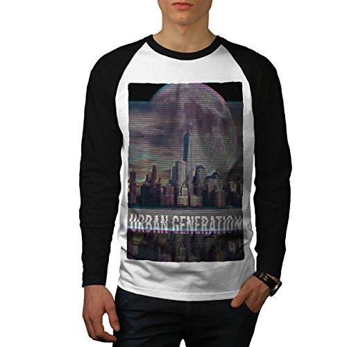 wellcoda Städtisch Stadt Mond Mode Männer XL Baseball LS T-Shirt