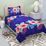 Gurnoor 3D Printed 152 TC Single Bedsheet With Pillow Cover(Blue)