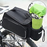 FEMOR Doppelte Fahrradtasche Gepäckträgertasche Gepäckträger Gepäcktasche Fahrrad Outdoor hinten Sitz Bag Rücken Schulter Handtasche Schwarz