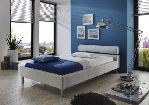 Dreams4Home Polsterbett mit Kunstlederbezug 'Atlas' 100,120,140,160,180x200 cm, Weiß, Liegefläche:120x200 cm
