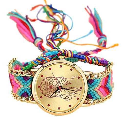 Handgefertigt geflochtenen Dreamcatcher Freundschaft Armband Armbanduhr Seil Geneva Armbanduhr Damen Quarzt Uhren relogio Nacional (1)