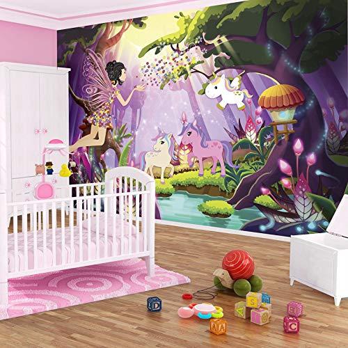 FORWALL Fototapete Vlies - Tapete Moderne Wanddeko Fee und Einhorn Kinderzimmer VEXXL (312cm. x 219cm.) AMF11707VEXXL Wandtapete Design Tapete Wohnzimmer Schlafzimmer