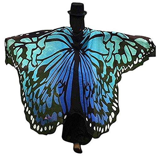 AiSi Damen Strand Überwurf, Chiffon Schal, Schmetterling Kostüm, Schmetterling Flügel Schal, für Cosplay Weihnachten und Urlaub am Strand Blau (Blauer Schmetterling Kostüme)