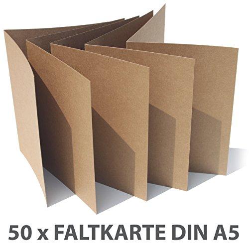 Farbige Karten (50 Faltkarten Kraftpapier Kraftkarton DIN A5 280gr/qm Naturkarton Hochwertiges Bastelpapier Kartonpapier Fotokarton braun farbig Hochzeit Karten)