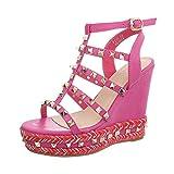 Ital-Design Keilsandaletten Damen-Schuhe Keilabsatz/Wedge Keilabsatz Schnalle Sandalen & Sandaletten Pink, Gr 39, F216-1-