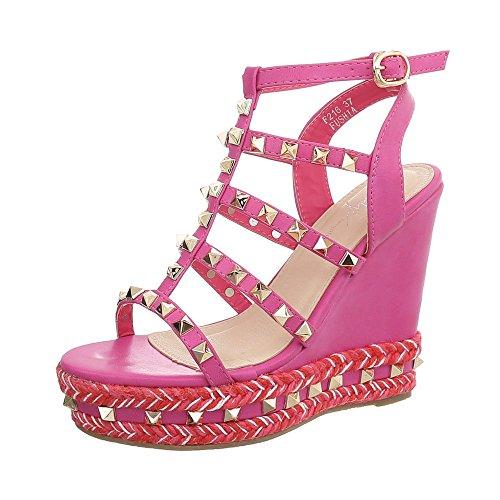 Ital-Design Keilsandaletten Damen-Schuhe Keilabsatz/Wedge Keilabsatz Schnalle Sandalen & Sandaletten Pink, Gr 41, F216-1-
