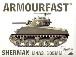 Armourfast - M4A3 Sherman 105mm gun: Le pack contient 2 maquettes de char à monter sans colle - 99015