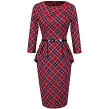 Homeyee® Vestido elegante ajustado de manga larga, volantes y cinturón para mujer UKB267