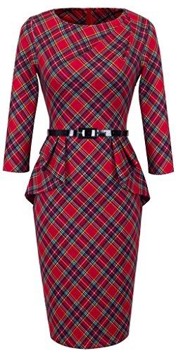 HOMEYEE Elegant Damen 1950er Retro Vintage Abendkleider O Ausschnitt 3/4-Arm Mit Gürtel Party Cocktailkleid B267 (36, Rot) (Plaid Tartan)