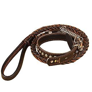 ADOGO Black Brown Leather Dog Lead with Adjustable COLLAR (Collar 37-57cm & Lead 120cm)