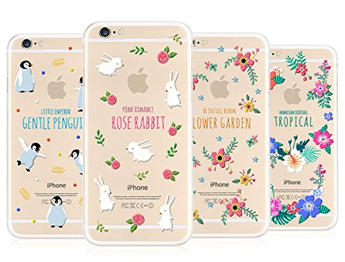 Leadtimes® Iphone 6 / 6S/ 6P/ 6SP Summer Hülle Transparent Bildserie Weich Silikon Schutzhülle Anti- Stoß (6S/6, Adonis) Rabbit