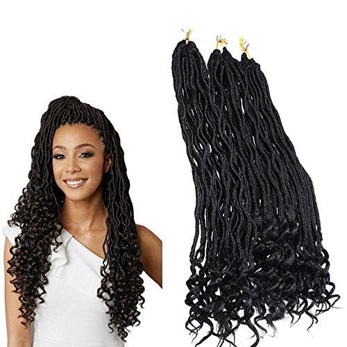 Zonghao Hair haarverlängerung, 45,7 cm, Schwarz, Stück: 6 (3 Zöpfe Göttin)