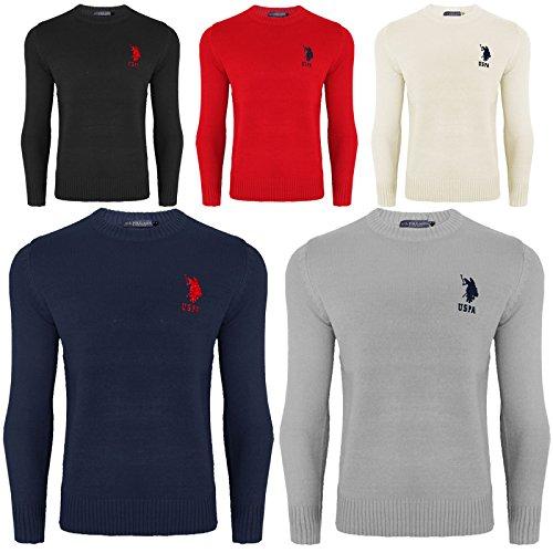 U.S.POLO ASSN. Mens Long Sleeve Us Polo ASSN Crew Neck Sweater Jumper Sweatshirt Plain Top S - XXL