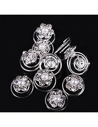 Très Chic Mailanda 10er Curlies Haarspiralen Strass Brautschmuck Blumen Perlen Kommunion