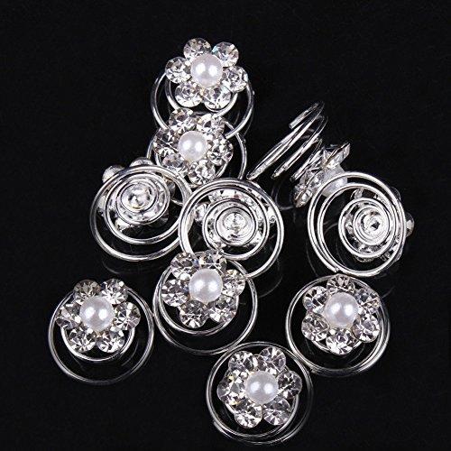 Très Chic Mailanda 10 Curlies Haarspiralen Strass Brautschmuck Blumen Perlen Kommunion