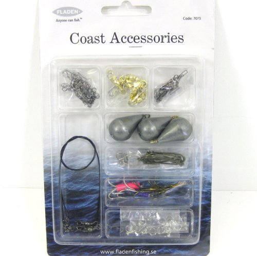 Fladen - Kit de accesorios de pesca (emerillones con y sin mosquetón, plomos, anzuelos simples, anzuelos triples, hilos y anillas)