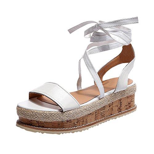 Sandales Femmes Pas Cher,LANSKIRT Femme Poissons Bouche Sandale Chaussures De Plage Talon Plate Printemps Été Bohême Shoes Sandales Compensées Imperméables