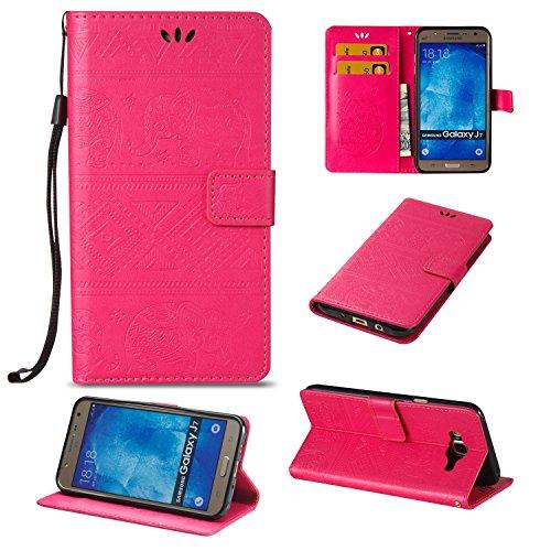 Für Samsung Galaxy J7 Premium Leder Schutzhülle, weiche PU / TPU geprägte Textur Horizontale Flip Stand Case Cover mit Lanyard & Card Cash Holder ( Color : Purple ) Red