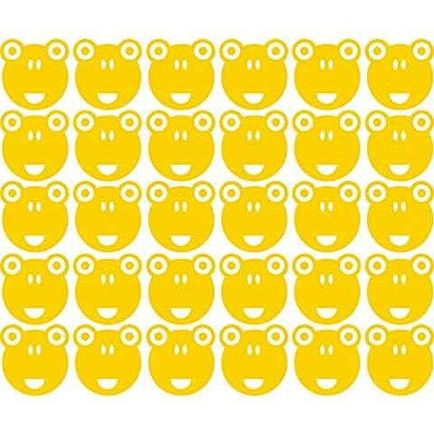 Lovely Cute Funny Fancy Set di 30Romantic Rana facce (50cm x 60cm) Scegli il colore 18colori in magazzino bagno, camera dei bambini, stanza dei bambini Adesivi, vinile auto, Windows e adesivo parete, Windows Art, decalcomanie, Ornamento vinile ThatVinylPlace Yellow