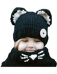 Kfnire gorros de punto cálidos bebé gorros de animales lindos fox sombrero  y bufanda gorros gorras 2d83836e0e8