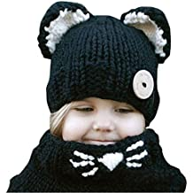 07c38aca1 Kfnire gorros de punto cálidos bebé gorros de animales lindos fox sombrero y  bufanda gorros gorras
