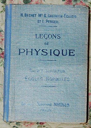 Leons de physique Brevet suprieur Ecoles normales
