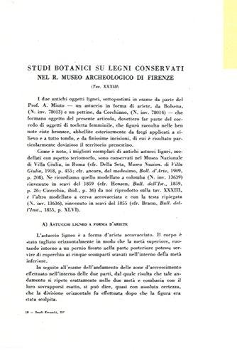 Studi botanici su legni conservati nel R. Museo Archeologico di Firenze.