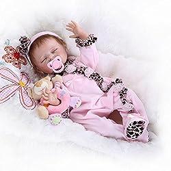 Nicery Poupée en Vinyle souple en silicone Reborn bébé 20inch 50cm Magnétique Bouche Lifelike Garçon Jouet Fille Rose Butterfly Robe Baby Doll A3FR