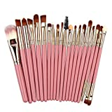 Beauty-Tools,Jaerio 20Pcs Makeup Brushes Powder Foundation Eyeshadow Eyeliner Lip Cosmetic Brush Holzgriff, farbiges Faserhaar, Mascara, Augenbrauenstift, Eyeliner, Valentinstag, Freundin