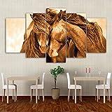 lkfqjd Nessuna Cornice Decorazione della Casa della Tela di Canapa Pittura 5 Pannelli del Cavallo Animale ModulariParete per Il Tipo Moderno del Salone