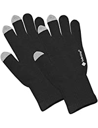 SellnShip Warm Woolen Hand Gloves Stretchable Men Women Winter Wool Biker Mittens Acrylic with Fingertip Touch (Unisex, Free Size, Black)
