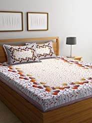 Boutique Bedding Queen Size 100 Cotton 250TC Bedsheet with 2 Pillow Covers (Orange and White, 235x225 cm)