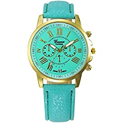 WINWINTOM Roman Numerals Faux Leather Analog Quartz Wrist Watch Mint Green