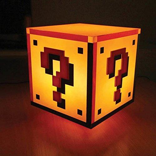 Super Mario Fragezeichen Block Dekolampe mit Sound - Super Mario Bros. Dekolicht Deko Licht Deko Lampe (Block Mario)