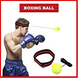 SGODDE Boxen Training Ball, Reflex Fightball, Speed Fitness Punch Boxing Ball mit Kopfband, Trainingsgerät Speedball für Boxtraining Zuhause und Outdoor (Gelb)