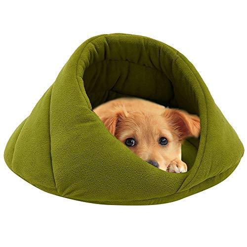 (ODJOY-FAN Weich Vlies Winter Warm Haustier Hund Bett Klein Hund Katze Schlafen Tasche Hündchen Höhle Betten Käfige Hütten Höhlen Hundehütten Kleintierbetten(Grün,M))