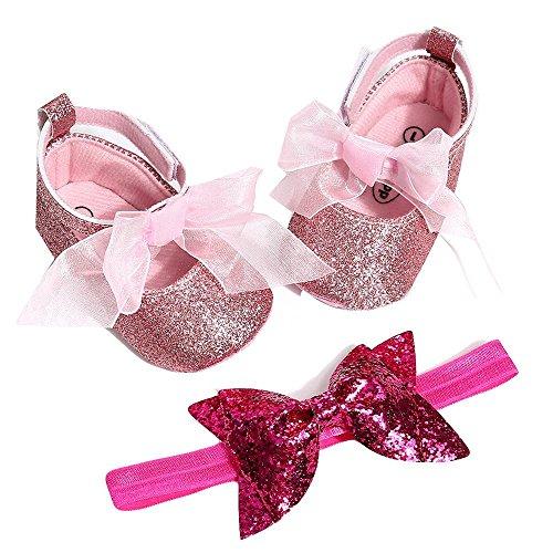 Huhu833 Babyschuhe, 2 Pcs Baby Mädchen Schuh Anti-Rutsch-Weiche Sohle Kleinkind Schuhe+ Stirnband (12~18 Month, Rosa 2)