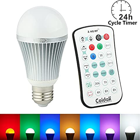 Coidak CO816 12W E27 RGB+W Colour Changing LED Bulb with Timer & Sleep Function and Pure White Light, 2.4G RF Wireless Control (Not IR), Dimmable Lamp with Remote, 1-PACK
