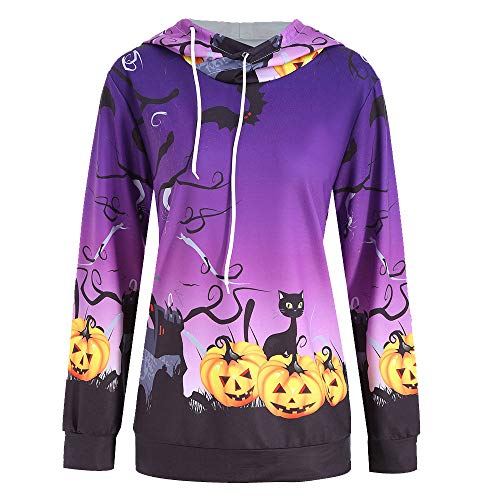 Damen Kapuzenpullover Langarm Hoodie Pullover Ronamick Frauen Halloween Kürbis Teufel Bedruckt Kapuzenpullis Pulli hoodys (Lila, XL)
