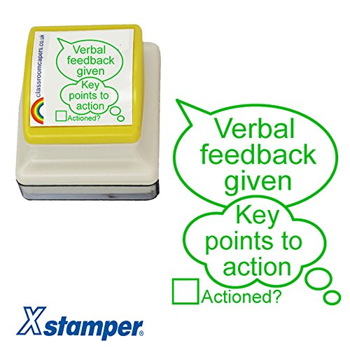 """Lehrer-Stempel mit Aufschrift """"Verbal Feedback Given"""" - """"Key points to action"""" Hochwertiger Stempel, 31x 26mm. Grüne Tinte. Nachfüllbar."""