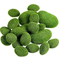 SODIAL 20 Pieces 2 Sizes Artificial Moss s Decorative Faux Green Moss Covered Stones