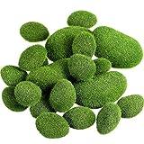 Cikuso 20 Pezzi 2 Formati Muschio Artificiale Rocce Decorative Finto Verde Muschio Coperto di Pietre