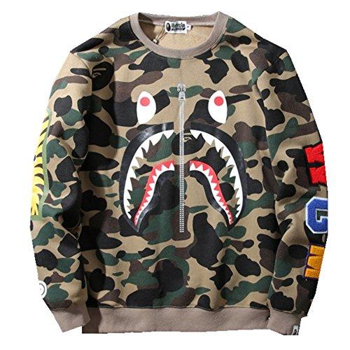 BOMOVO Herren BAPE Sweatshirt Pullover Pulli Sweats Sweatjacke Grün