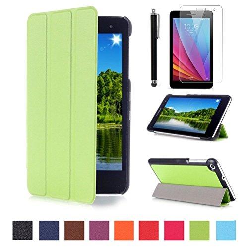 Ultra Slim Huawei T1/ Hülle Case Tasche PU Leder Schutzhülle für Huawei Mediapad T1 7.0 Zoll Tablet Smart Cover Case Etui Schale mit Standfunktion + Displayschutzfolien und Stylus,grün