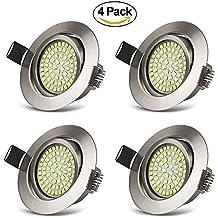 Foco Empotrable LED Luz de Techo 3.5W Ultra Slim Plano Downlight Blanco Frio 6000K, 400LM, 230V, Redondo Ángulo Rotable 40° IP20 protección para salón o dormitorio cocina (Pack de 4)