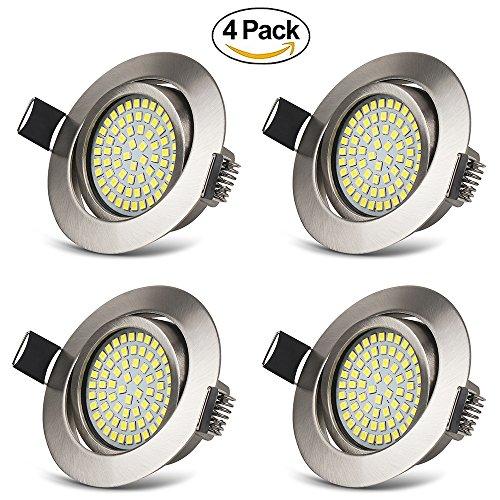 LED Einbaustrahler Schwenkbar Ultra Flach 3.5W Kaltweiß 6000K IP20 LED Deckenstrahler 400 Lumen Rund Stahl LED Einbauspots im Wohnzimmer, Schlafzimmer, Esszimmer, Ausstellungsraum (4er Set )