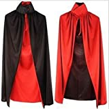 #8: Theme My Party Black & Red Vampire Cape for Adults for Your Halloween Party (Black/Red)
