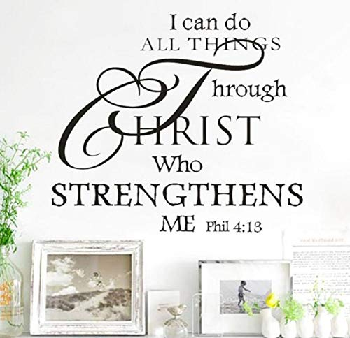 (Yzybz 1Pc Home Decor Diy I Can Do All Things Through Christ Bible Quote Removable Pvc God Wall Stickers Home Decor Art Wall Decals)