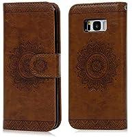 SUPWALL Funda para Samsung Galaxy S8, Flip Wallet Case Carcasa Libro de Cuero Impresión de Tótem PU Premium y TPU Funda Interna (2 en 1, Separable), Soporte Plegable - Marrón